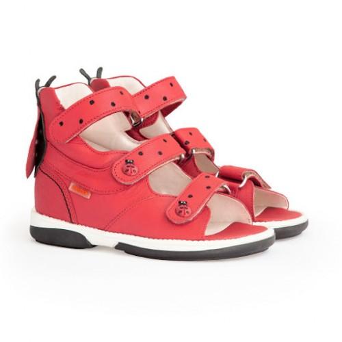 MEMO LADYBIRD  červené dievčenské supinované sandále 22-29 - 2