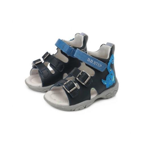 D.D.Step chlapčenské modré detské sandále 19-24 s LED osvetlením - 5