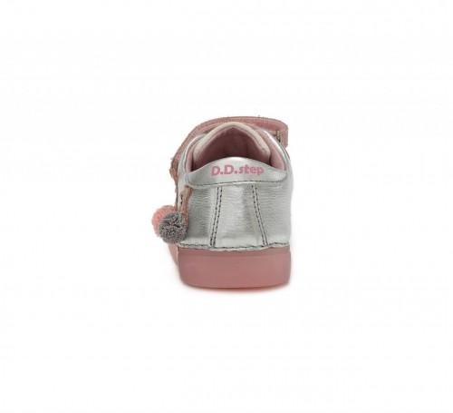 D.D.step strieborno-ružové dievčenské detské topánky na suchý zips 25-30 - 6