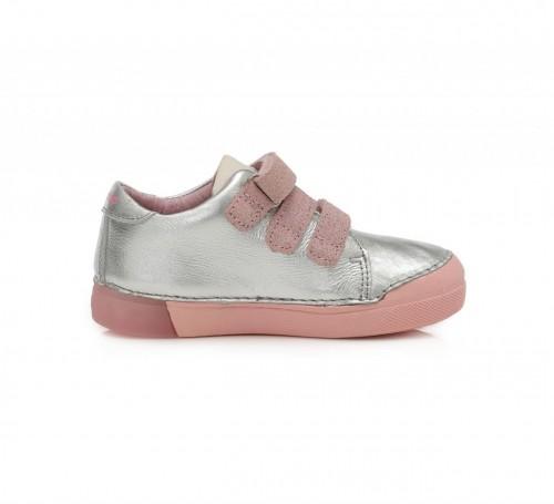 D.D.step strieborno-ružové dievčenské detské topánky na suchý zips 25-30 - 5