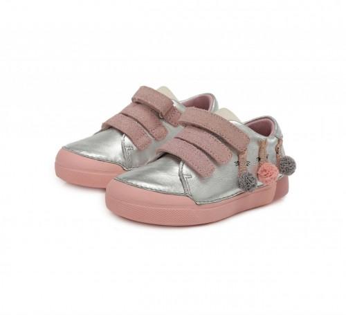 D.D.step strieborno-ružové dievčenské detské topánky na suchý zips 25-30 - 3