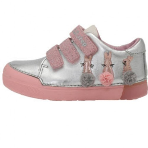 D.D.step strieborno-ružové dievčenské detské topánky na suchý zips 25-30 - 8