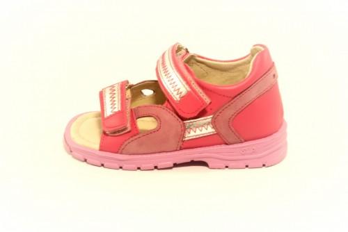 Supykids ROMI detské supinované dievčenské sandále na suchý zips ružovo-strieborné 20-30 - 2