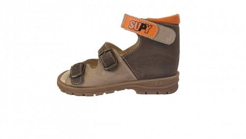 Supykids SASA detské supinované sandále na suchý zips hnedé-béžové 20-30 - 2