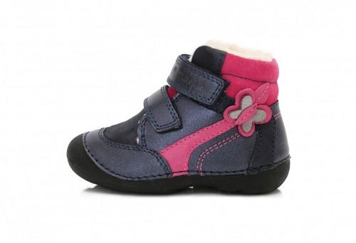 24726fecd258 D.D. STEP detské zimné dievčenské vysoké modroružové topánky so suchým  zipsom 19-24 s kožušinkou