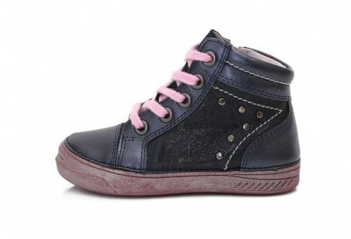 14c3a88ccf17 D.D.step modré dievčenské šnurovacie vysoké topánky so zipsom na boku 31-36