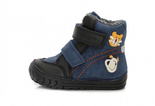 586657321369 D.D. STEP detské zimné chlapčenské vysoké modré topánky so suchým zipsom  19-24 s kožušinkou