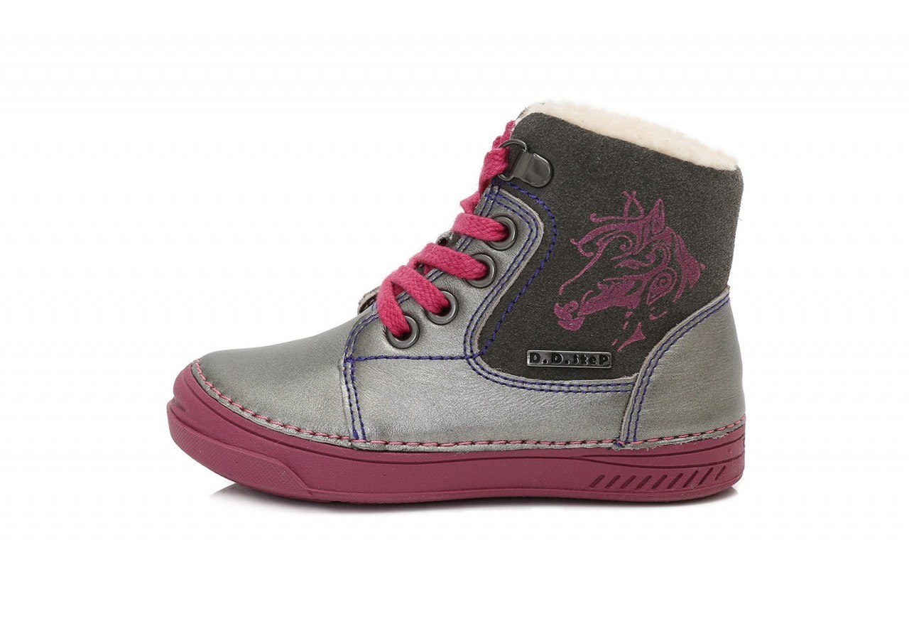 81ef686cd839 D.D.step dievčenské strieborné vysoké detské topánky s kožušinou šnurovacie  so zipsom na boku 25-30